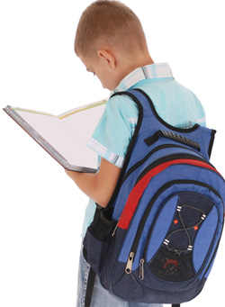 Boy carrying backpack